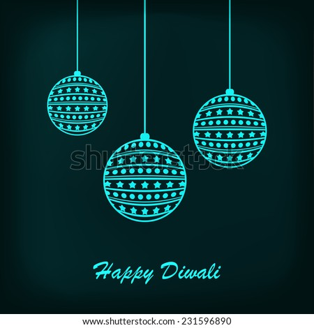 Shiny Blue Hanging Balls With Blue Background For Diwali Festival.