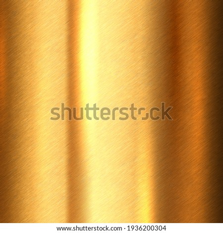 Shiny brushed metallic gold background texture. Bright polished metal bronze brass plate. Sheet metal glossy shiny gold Foto d'archivio ©