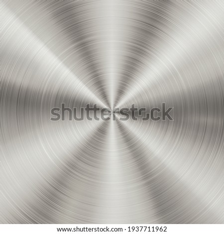 Shiny brushed metallic steel, aluminium circular background texture. Bright polished metal silver plate. Round shiny glossy stainless steel texture