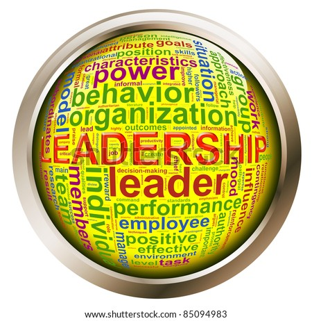 Shiny button with metal frame of wordcloud related to word 'leadership'