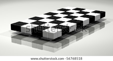 Shiny checkered flag, made from cubes.