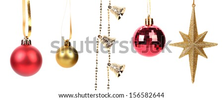 Shiny christmas decorations. Isolated on a white background.