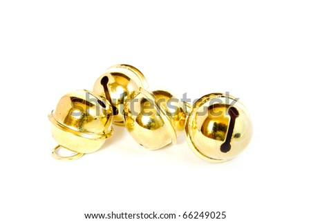 shiny christmas golden bell isolated on white background