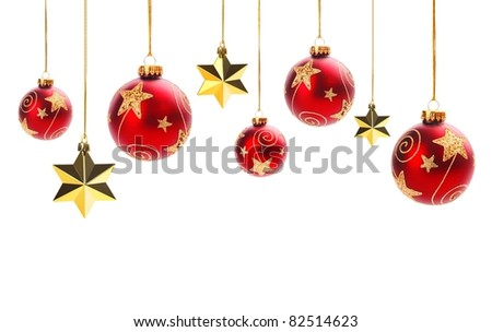 Shiny christms balls and gold stars isolated on white.