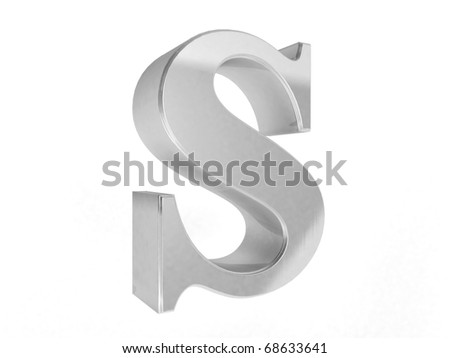 shiny chrome letter S on a white isolated background - 3d rendering