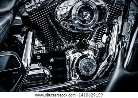 Shiny chrome motorcycle V engine block #1410629159