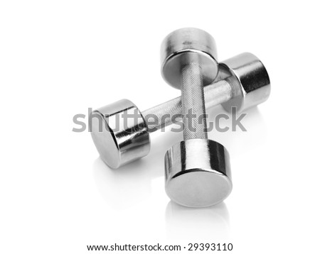 Shiny chrome plated fitness dumbbells isolated on white background