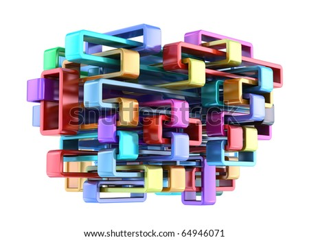 Shiny colorful abstract construction. 3D background