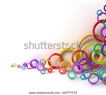 Shiny colorful circles under white wall. 3D image