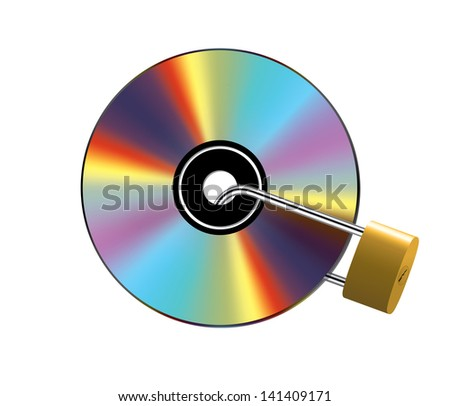Shiny compact disc locked with metal padlock