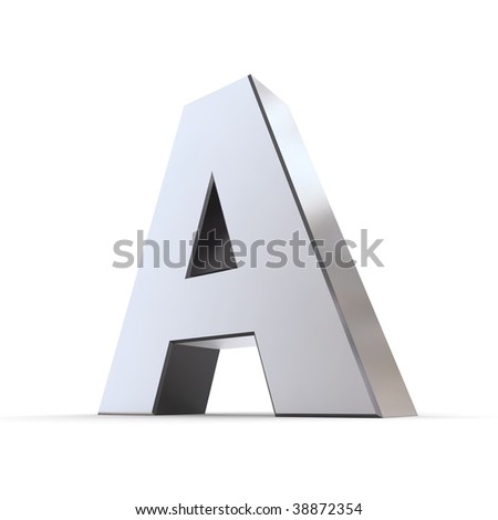 shiny 3d letter A made of silver/chrome