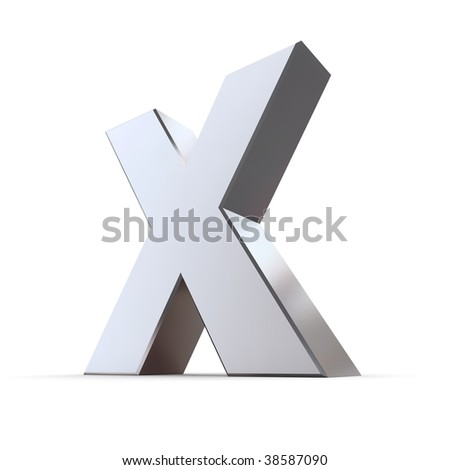 Shiny 3d Letter X Made Of Solid Silver Chrome Stock Photo