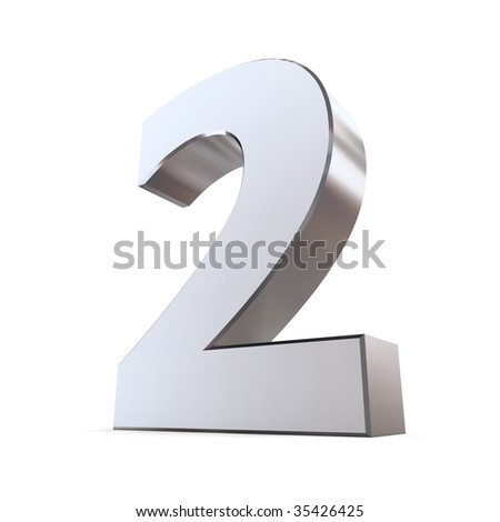 shiny 3d number 2 made of silver/chrome
