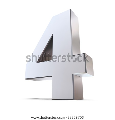 shiny 3d number 4 made of silver/chrome