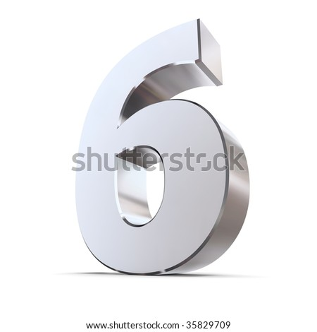 shiny 3d number 6 made of silver/chrome