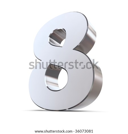 shiny 3d number 8 made of silver/chrome