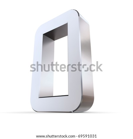 shiny 3d number 0 made of silver/chrome - OCR character look
