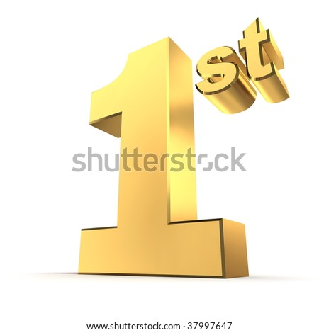 shiny 3d number 1st made of gold - stock photo