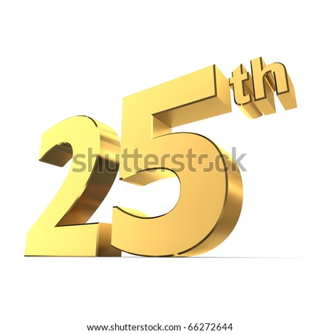 shiny 3d number 25th made of gold - silver wedding anniversary