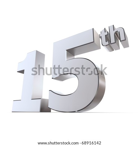 shiny 3d number 15th made of silver/chrome - chrystal or watches wedding anniversary