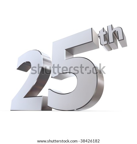 stock photo shiny 3d number 25th made of silver chrome silver wedding