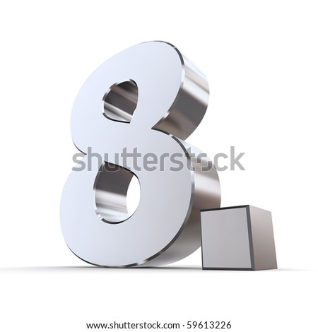 shiny 3d number 8th made of silver/chrome - 8. with angular dot