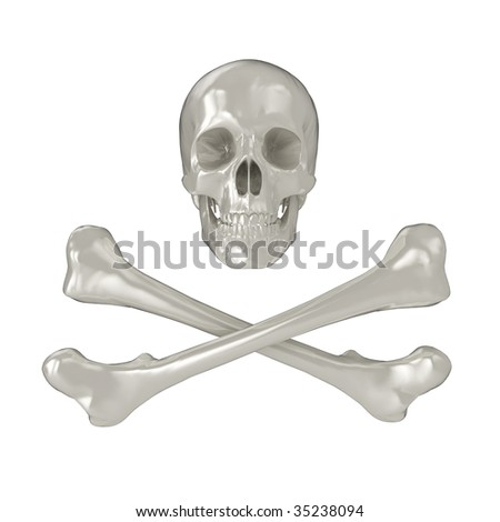 Shiny 3d Skull and Crossbones, isolated on a white background.