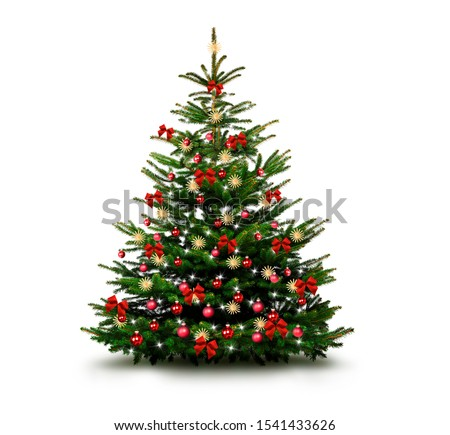 Shiny Decorated christmas tree with christmas baubles
