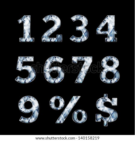 Shiny diamond digits and symbols - raster version - stock photo