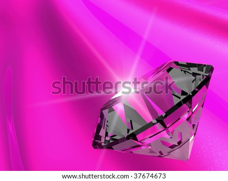 Shiny diamond on pink silk 3d art
