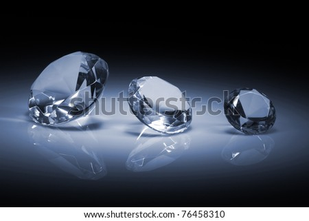 Shiny diamonds jewel on dark blue background