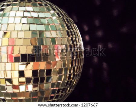 shiny disco ball on black background, detailed