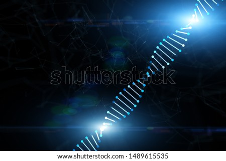 Shiny dna structure on artistic dark blue cyberspace illustration background.