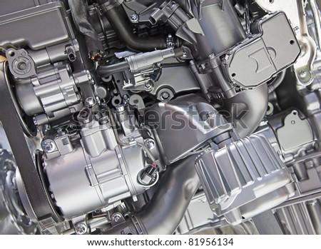 Shiny engine of the modern car