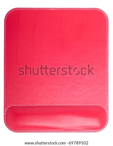 shiny ergonomic red mouse pad isolated on white background