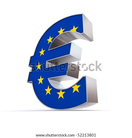shiny euro symbol in a chrome and metal look - front surface is textured with european union flag