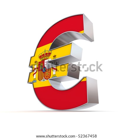 shiny euro symbol in a chrome and metal look - front surface is textured with spanish flag