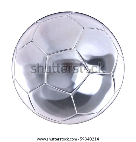 shiny football (soccer ball) on the white background 3d illustration