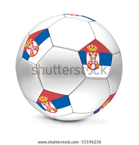 shiny football/soccer ball with the flag of Serbia on the pentagons