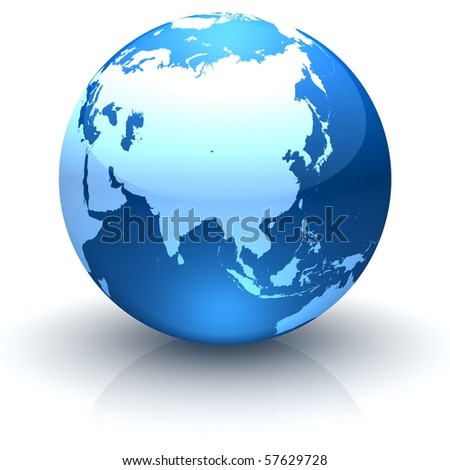 Shiny globe marble with highly detailed continents facing Asia