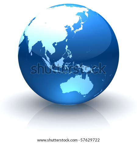 Shiny globe marble with highly detailed continents facing Asia, Oceania and Australia
