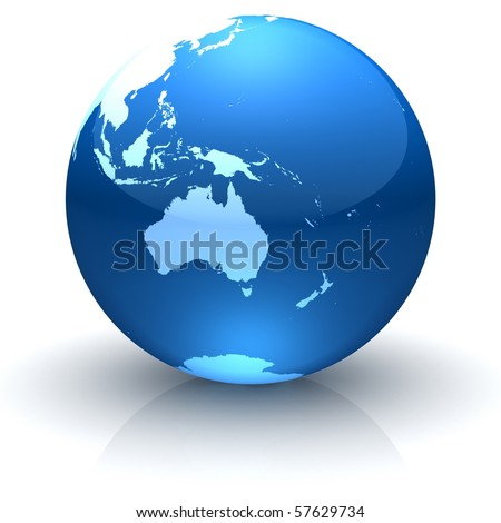 Shiny globe marble with highly detailed continents facing Australia