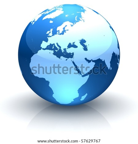 Shiny globe marble with highly detailed continents facing Europe