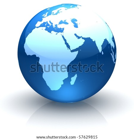Shiny globe marble with highly detailed continents facing Europe, Africa and Near East