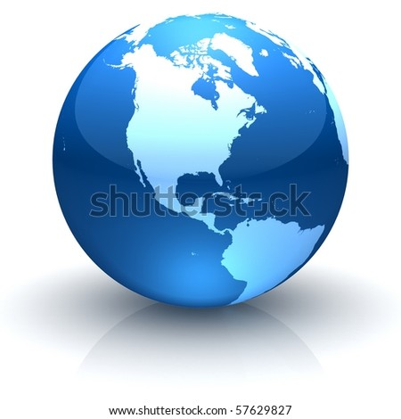 Shiny globe marble with highly detailed continents facing North America