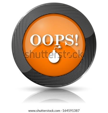 Shiny glossy icon with white design on orange background - stock photo