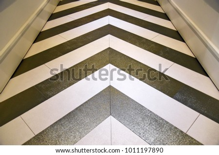 Shiny gold and silver chevron floor in hallway #1011197890