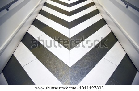 Shiny gold and silver chevron floor in hallway #1011197893
