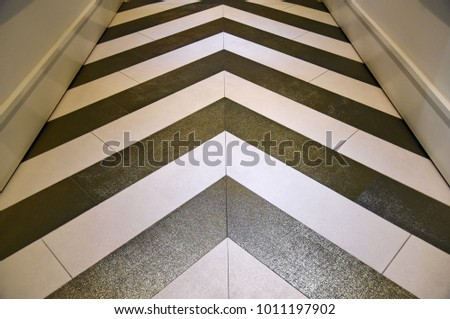 Shiny gold and silver chevron floor in hallway #1011197902
