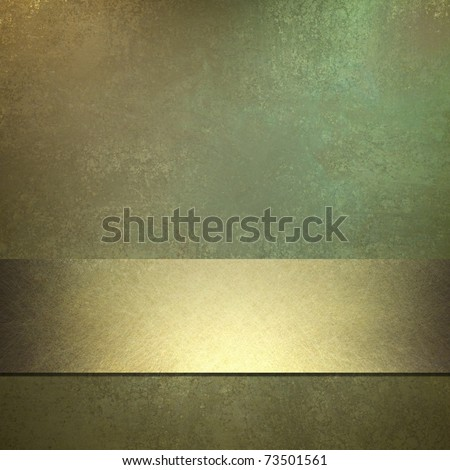 shiny gold background with green color tone, metallic gold ribbon stripe, grunge texture, and copy space for title or text